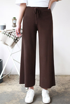 Strap wide knit pants