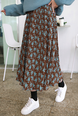 Floral Pleated Long Skirt
