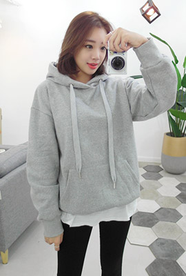 String Simple brushed hooded tee (3rd stock)