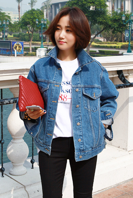 Line pocket denim jacket (second stock)