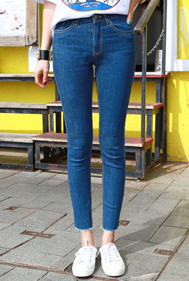 Simple skirt hem skinny jeans (second stock)