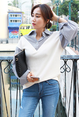 Knitted layered shirt
