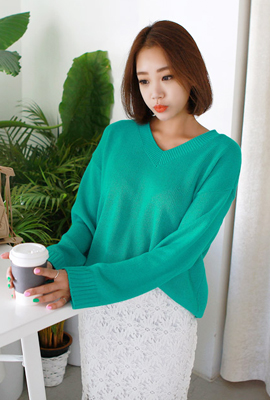 V-neck color loose-knit tee (second stock)