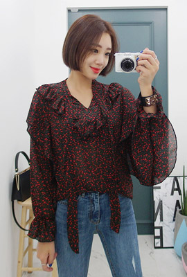 Flower Frilly Tie Blouse