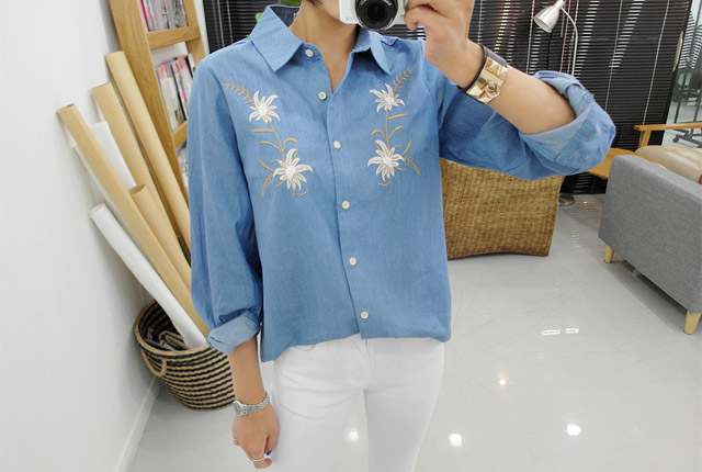 Double Flower Embroidery Shirt