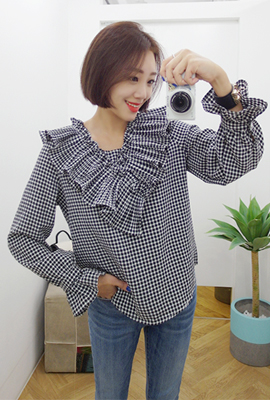 Formal check blouse