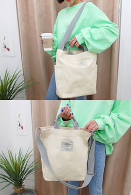 Side pocket cotton shoulder bag