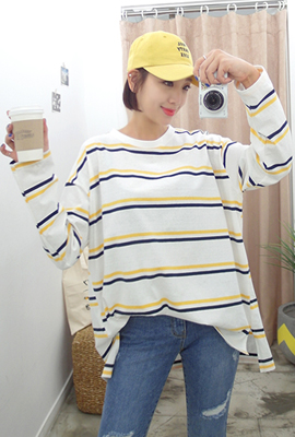 Colored striped tweed tee
