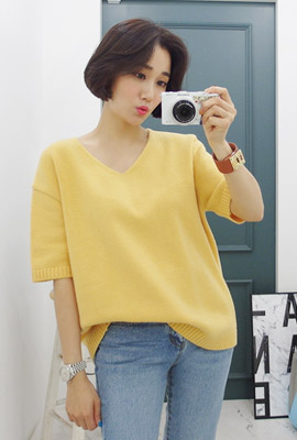 Veneer loose wool knit short sleeve tee